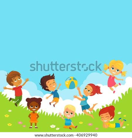 Vector Illustration of Happy Kids Having Fun