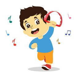 vector illustration of happy kids playing musical instrument, colorful musical notation. boy playing tambourine