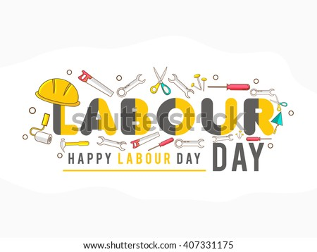 Vector illustration of happy Labour Day with stylish text background.