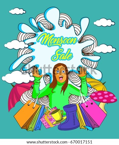 vector illustration of Happy Monsoon Sale Offer promotional and advertisement banner