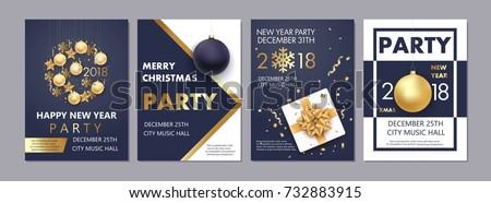 Vector illustration of Happy New Year 2018 and Merry Christmas brochure, flyer, party, holiday invitation, corporate celebration. Gold ball, star, gift, snowflake composition on black  background.