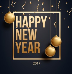 vector illustration of happy new year  gold and black collors place for text christmas balls  2019 2020