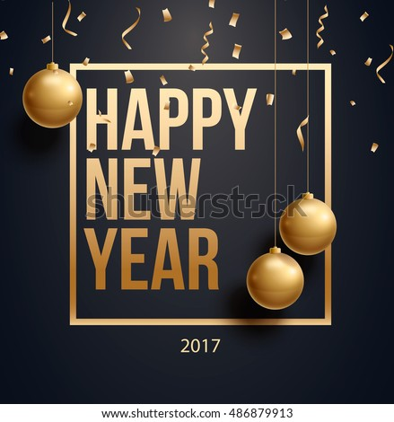 Shutterstock vector illustration of happy new year 2017 gold and black collors place for text christmas balls