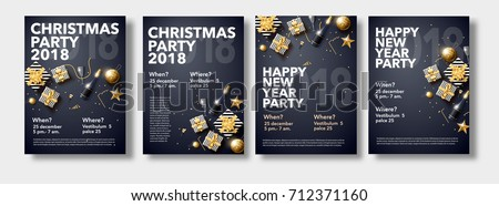 vector illustration of happy new year 2018 gold and black collors place for text christmas balls star champagne glass flayer brochure   #712371160