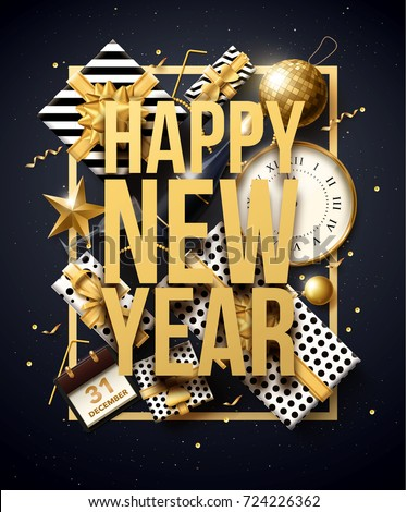vector illustration of happy new year 2018 gold and black collors place for text christmas balls star champagne glass