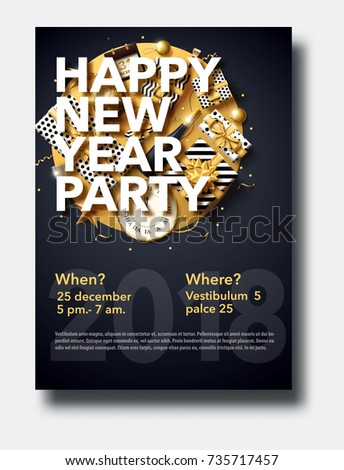 vector illustration of happy new year 2018 gold and black collors place for text christmas balls star champagne glass flayer brochure   #735717457