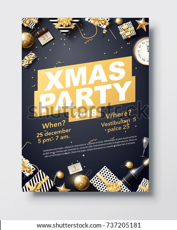 vector illustration of happy new year 2018 gold and black collors place for text christmas balls star champagne glass flayer brochure   #737205181
