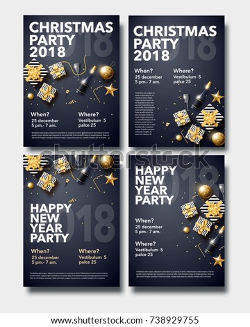 vector illustration of happy new year 2018 gold and black collors place for text christmas balls star champagne glass flayer brochure   #738929755
