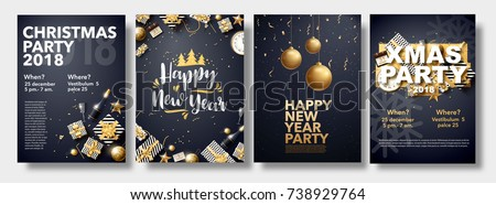 vector illustration of happy new year 2018 gold and black collors place for text christmas balls star champagne glass flayer brochure   #738929764