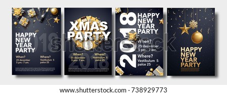 vector illustration of happy new year 2018 gold and black collors place for text christmas balls star champagne glass flayer brochure   #738929773