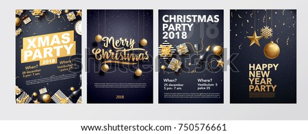 vector illustration of happy new year 2018 gold and black collors place for text christmas balls star champagne glass flayer brochure   #750576661