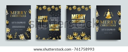 Vector illustration of happy new year 2018. Marry christmas  posters set. Posters with place for text. Marry christmas background for flayers and brochure #761758993