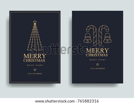 Vector illustration of happy new year 2018. Marry christmas  posters set. Posters with place for text. Marry christmas background for flayers and brochure #765882316