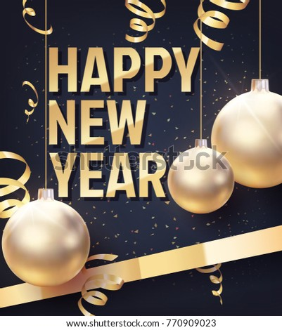 Vector illustration of happy new year. The gold Christmas balls in the dark place with confetti and gold spiral ribbons