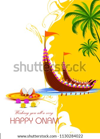 vector illustration of Happy Onam Festival background for Festival of South India Kerala