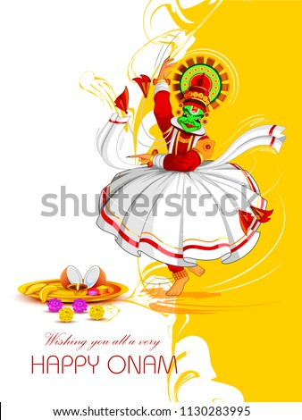 vector illustration of Happy Onam Festival background of Kerala with Kathakali dancer