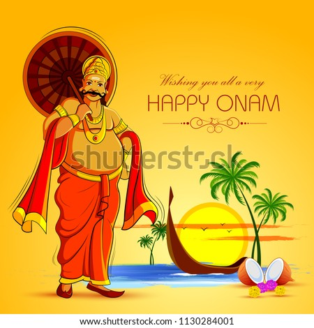 vector illustration of Happy Onam Festival background of Kerala with King Mahabali