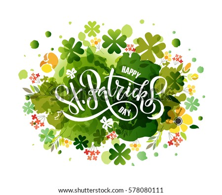 Vector illustration of Happy Saint Patrick's Day logotype. Hand sketched Irish celebration design. Beer festival lettering typography icon. Drawn typography badge on shamrock watercolor background