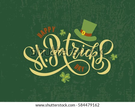 Vector illustration of Happy Saint Patrick's Day logotype. Hand sketched Irish celebration design. Beer festival lettering typography icon. Drawn typography badge with green hat and shamrock