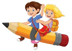Vector illustration of happy school kids riding a flying pencil isolated on white background