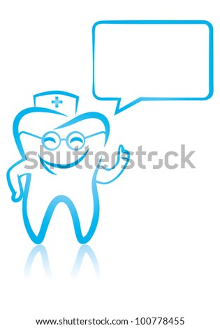 Vector illustration of  happy smiling dental tooth