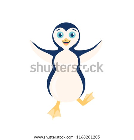 Vector illustration of happy stomping penguin with open arms isolated on the white background.