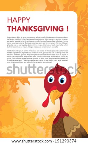 Vector illustration of happy Thanksgiving turkey with custom designed lettering theme