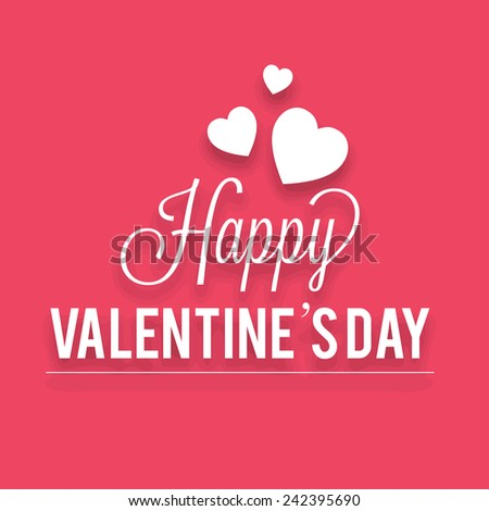 Vector illustration of happy valentines day card on red background.
