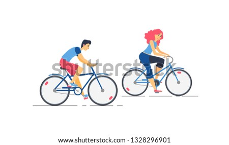 Vector illustration of happy young couple riding a bicycles
