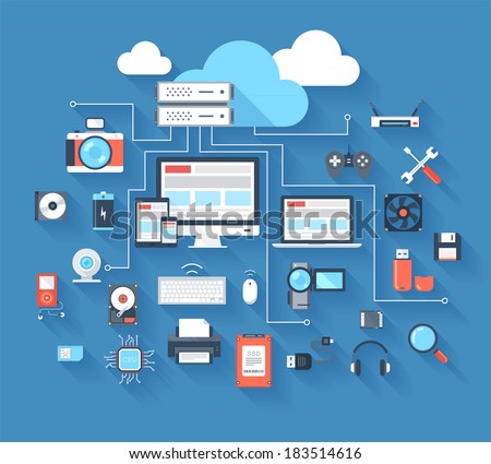Vector illustration of hardware and cloud computing concept on blue background with long shadow.