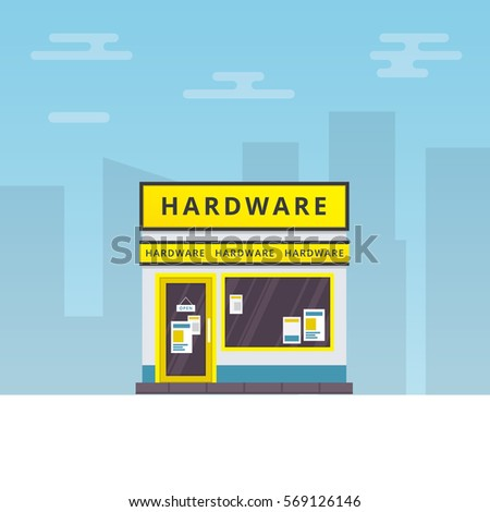Vector illustration of hardware store building