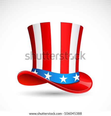 vector illustration of hat in American flag color