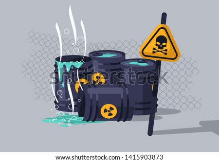 vector illustration of hazardous chemical waste in barrels, hazard warning sign