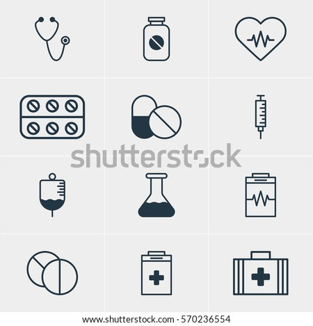 Vector Illustration Of 12 Health Icons. Editable Pack Of Antibody, Medical Bag, Round Tablet And Other Elements.