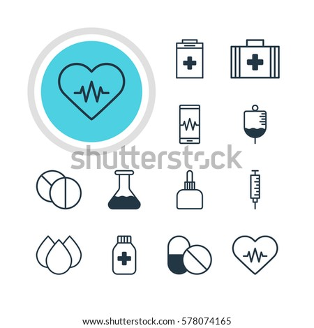 Vector Illustration Of 12 Health Icons. Editable Pack Of Medicine Jar, Round Tablet, Heart Rhythm And Other Elements.