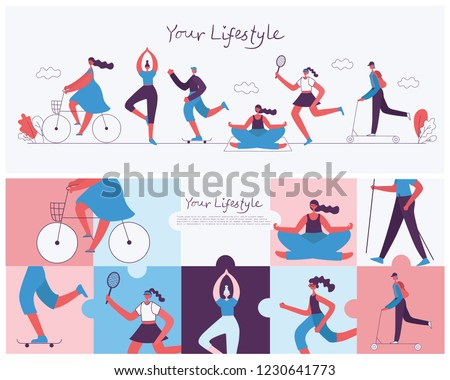 Vector illustration of Healthy lifestyle background. Roller skate, bicycle, tennis and skating sport design elements in flat style