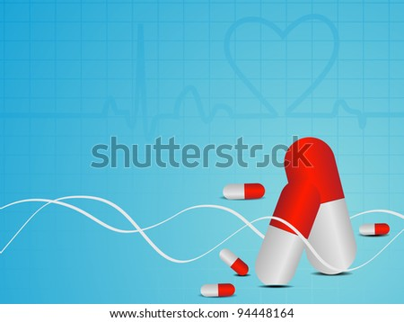 vector illustration of Heart beat seamless medical background with red pills on blue.