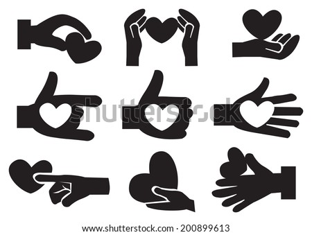 Vector illustration of heart in hand icons. Isolated black and white conceptual icon set.