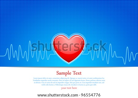 vector illustration of heart with ecg graph line