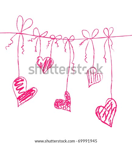 Vector illustration of hearts on strings