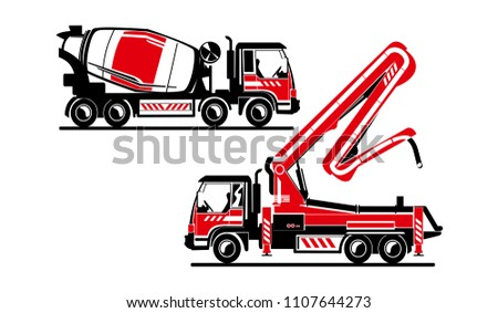 Vector illustration of heavy concrete machines, Concrete Pump, Concrete Mixer, images can be resized without loss of qualy