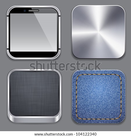 Vector illustration of high-detailed apps template icon set.