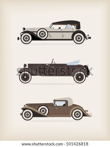 Vector illustration of high quiality vitage cars