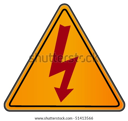vector illustration of high voltage sign on triangular road sign