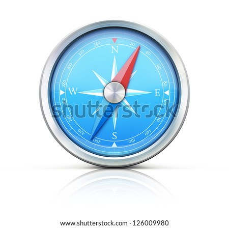 Vector illustration of highly detailed blue compass isolated on a white background.
