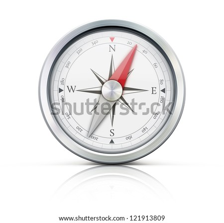 Vector illustration of highly detailed compass isolated on a white background.