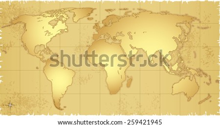 Vector illustration of highly detailed Old Map of the world. Objects are logically layered.