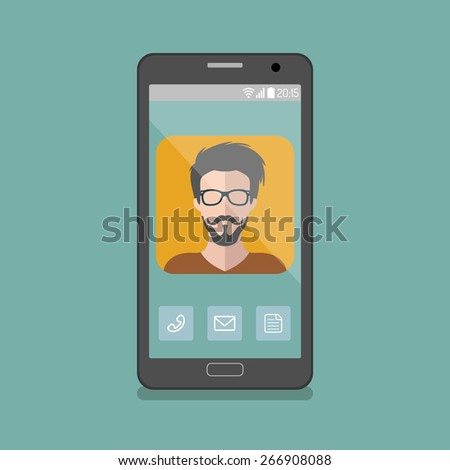 Vector illustration of hipster man app icon on smartphone display in flat style