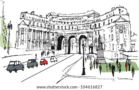 Vector illustration of historic arch, London England with pedestrians.
