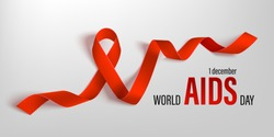 Vector illustration of hiv, aids awareness. Horizontal poster World Aids Day, 1 December. Photo realistic red ribbon on light background.
